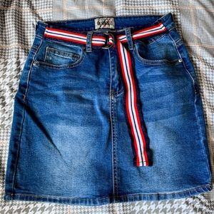 jean skirt with attached belt